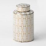 Earthenware Jar 17X30 Ceramic White Golden