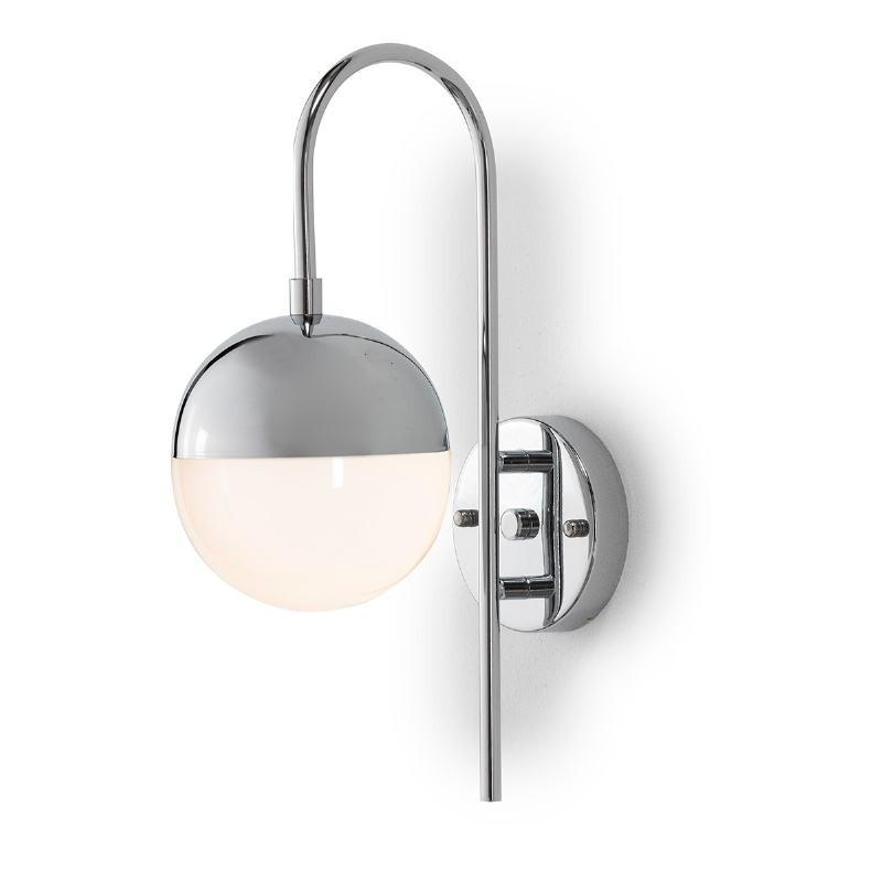 Wall Lamp 15X27X42 Glass White Metal Silver