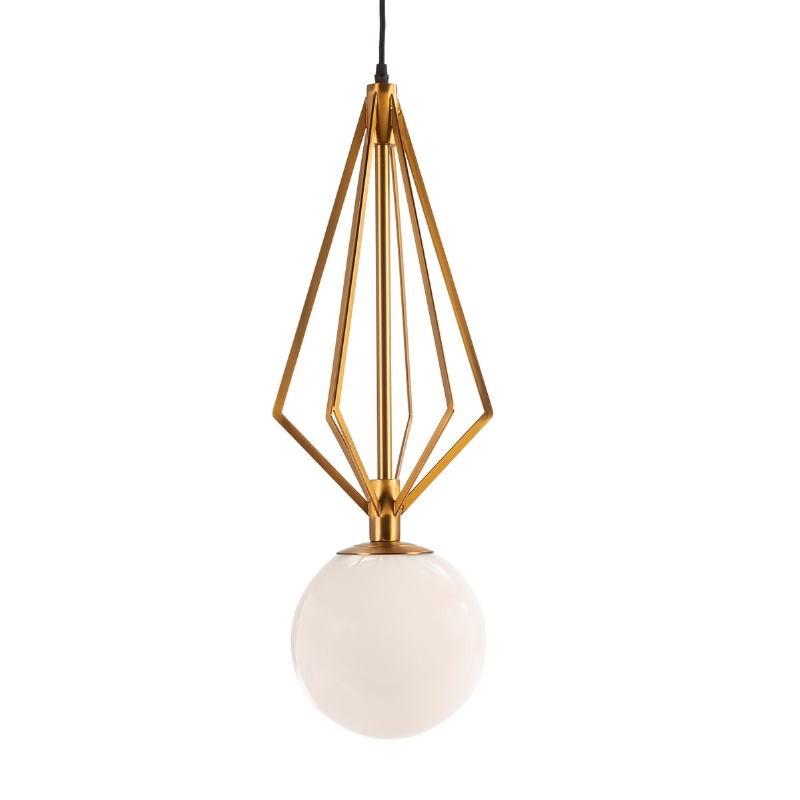 Hanging Lamp 23X23X68 Glass White Metal Golden