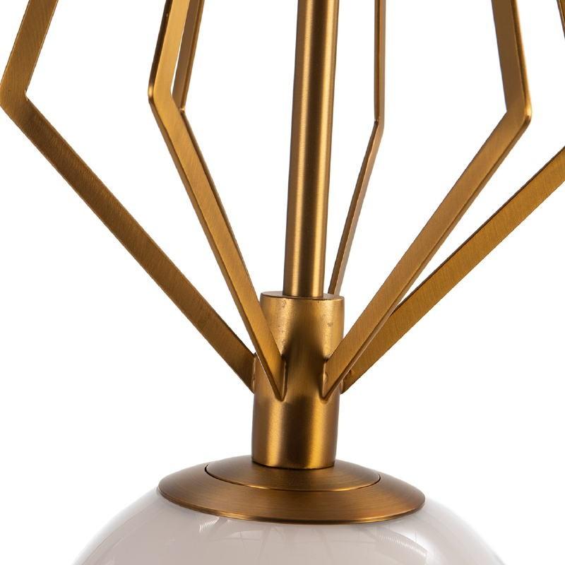 Lampada A Sospensione 23X23X68 Vetro Bianco Metallo Dorato - image 52537