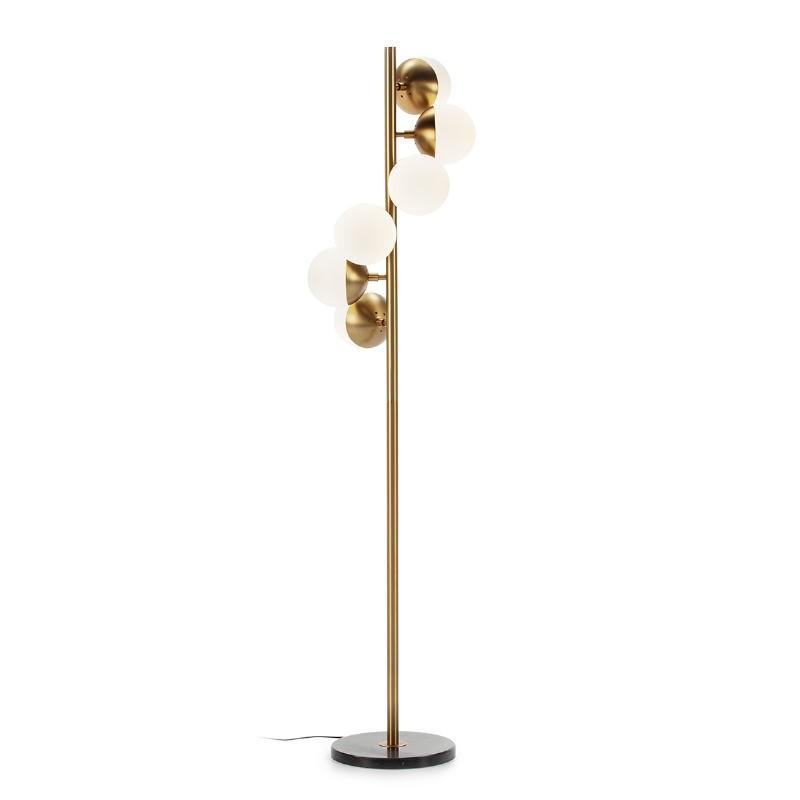 Lámpara De Pié 36X36X153 Cristal Blanco Mármol Negro Metal Dorado - image 52543