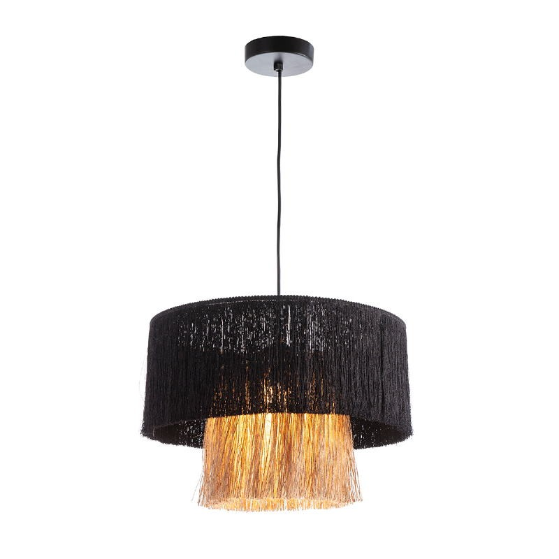 Lampe suspendue avec abat-jour 40x40x28 Jute Naturel tissu Noir
