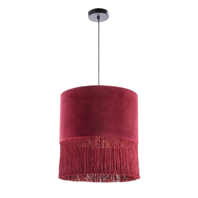 Lampada A Sospensione Con Paralume 40X40X43 Velluto Rosso - image 52571