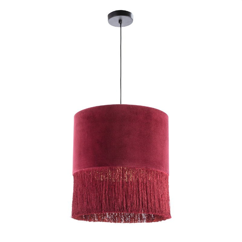 Lámpara Colgante Con Pantalla 40X40X43 Terciopelo Rojo - image 52571
