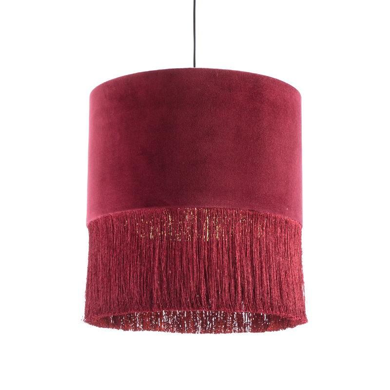 Lampada A Sospensione Con Paralume 40X40X43 Velluto Rosso - image 52573