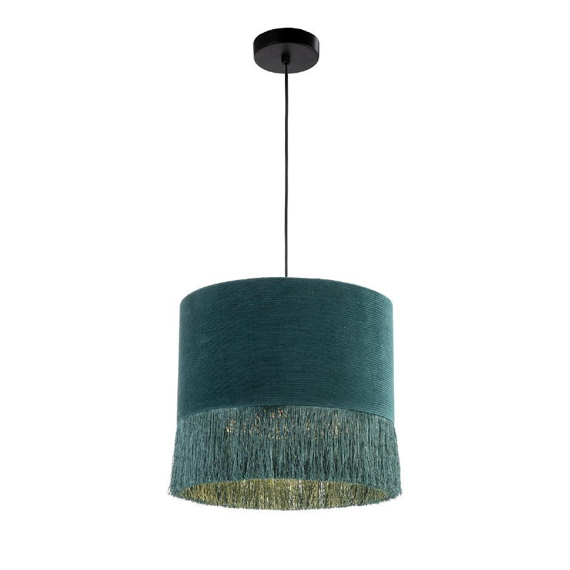 Lámpara Colgante Con Pantalla 35X35X32 Tela Verde - image 52584