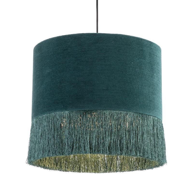 Lámpara Colgante Con Pantalla 35X35X32 Tela Verde - image 52586