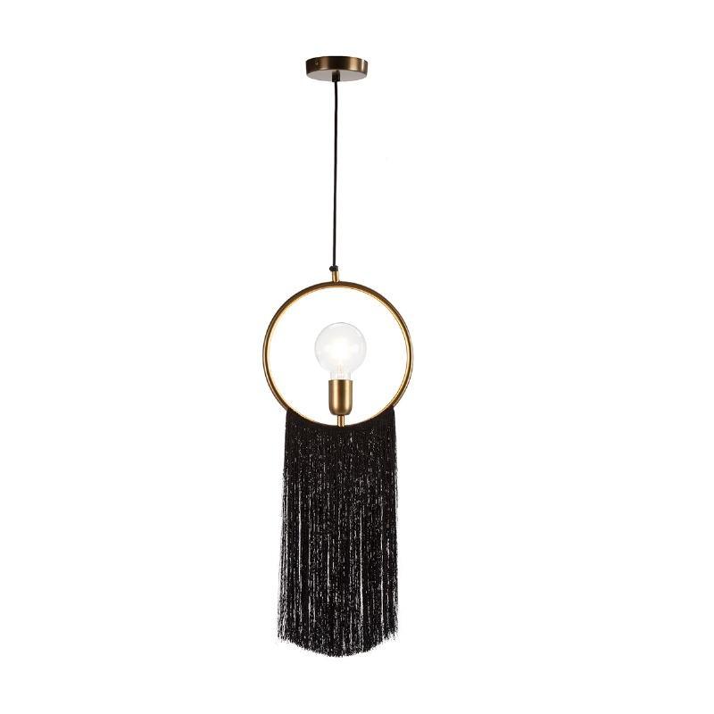 Hanging Lamp 27X4X30 Metal Golden Fabric Black