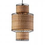 Hanging Lamp 38X38X62 Metal Black Rattan Natural