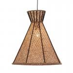 Hanging Lamp 42X42X43 Metal Black Rattan Natural