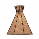 Lampe suspendue 42x42x43 Métal Noir Rotin Naturel