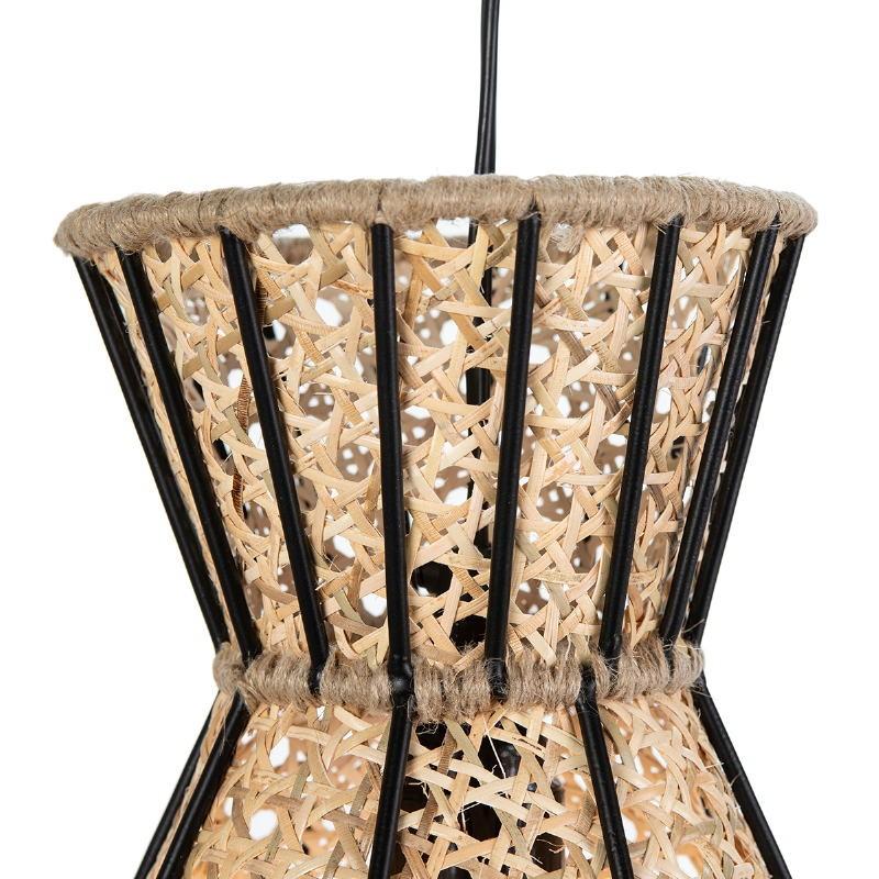 Hanging Lamp 42X42X43 Metal Black Rattan Natural - image 52619