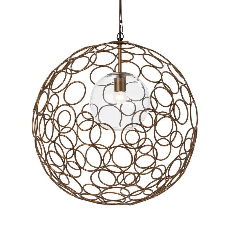Lampe suspendue 55x55x55 Verre Métal Doré - image 52620