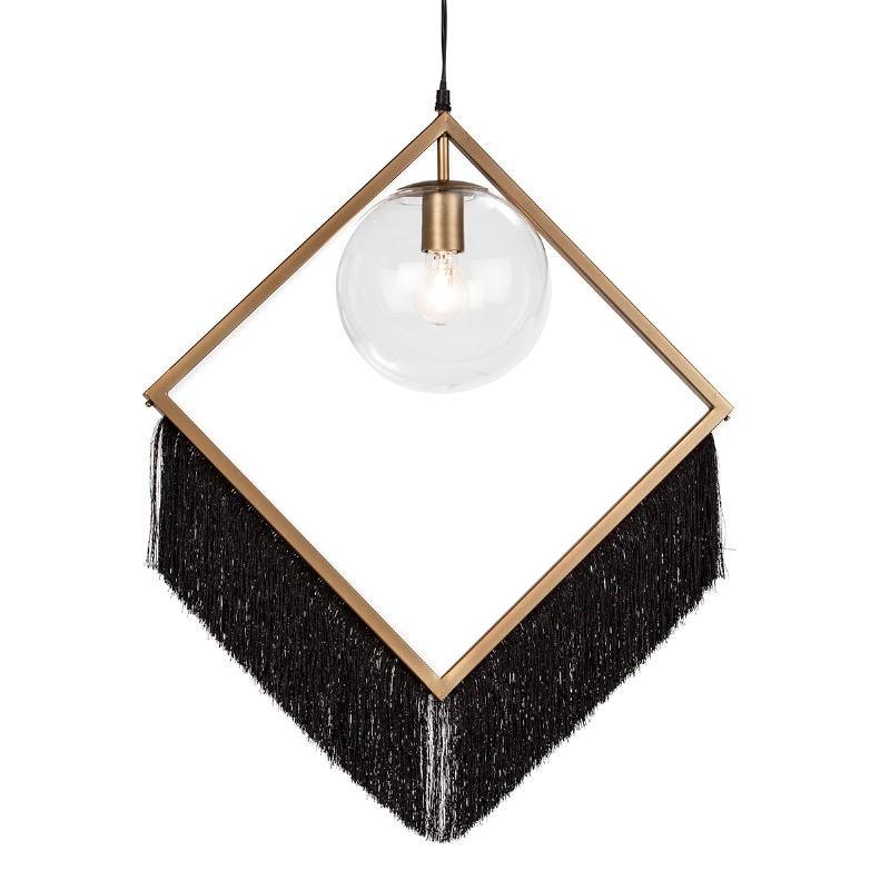 Lámpara Colgante 57X20X80 Cristal Metal Dorado Tela Negro - image 52626