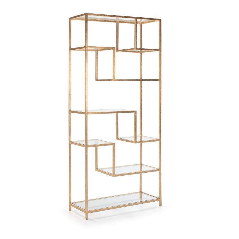 Shelf 91X38X203 Glass Metal Golden - image 52678