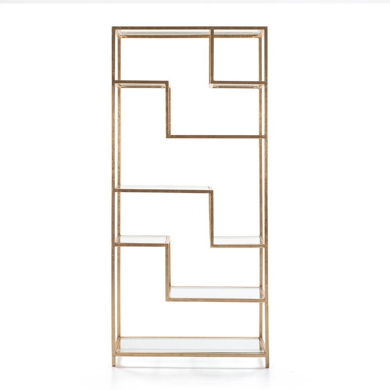 Regale 91X38X203 Glas / Metall Golden - image 52681