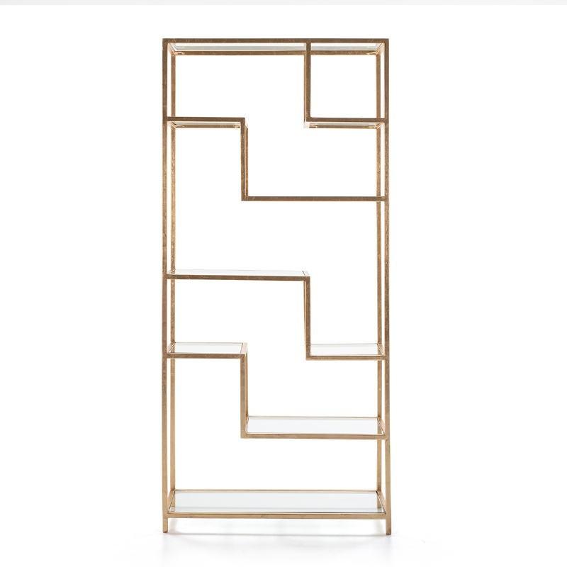 Shelf 91X38X203 Glass Metal Golden - image 52681