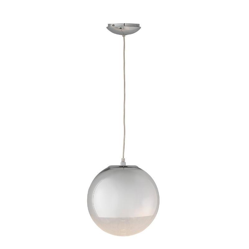 Lampada A Sospensione 25X25X25 Vetro Metallo Argento