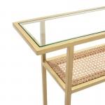 Console 100X27X80 Glass Rattan Metal Golden
