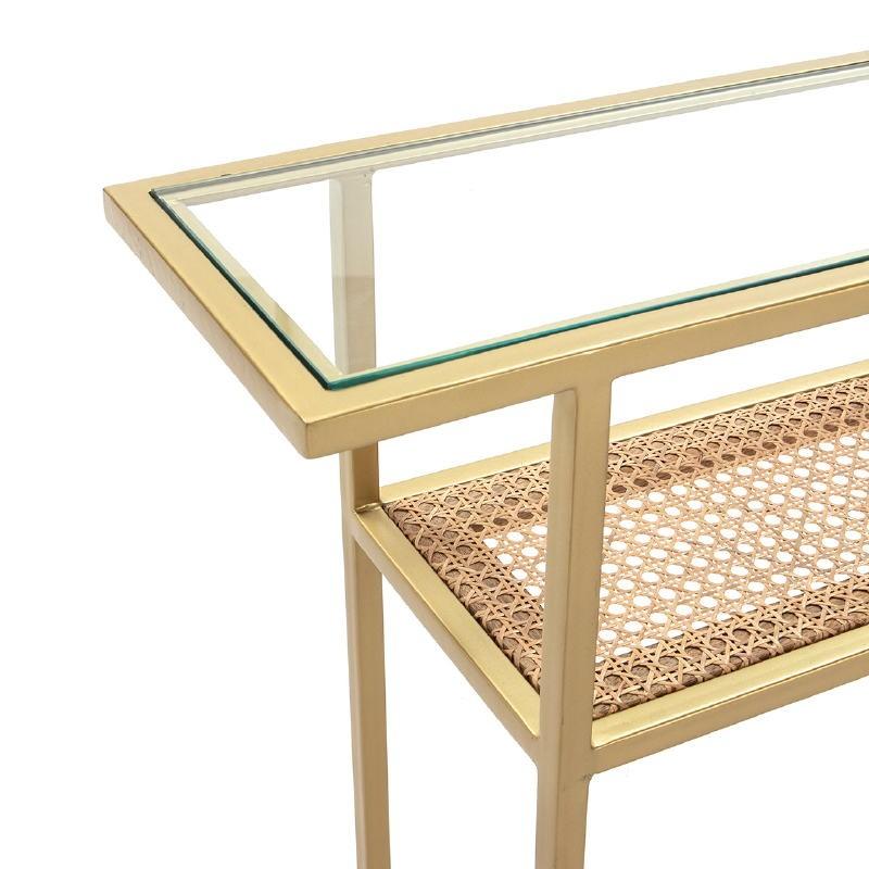 Console 100X27X80 Glass Rattan Metal Golden - image 52780