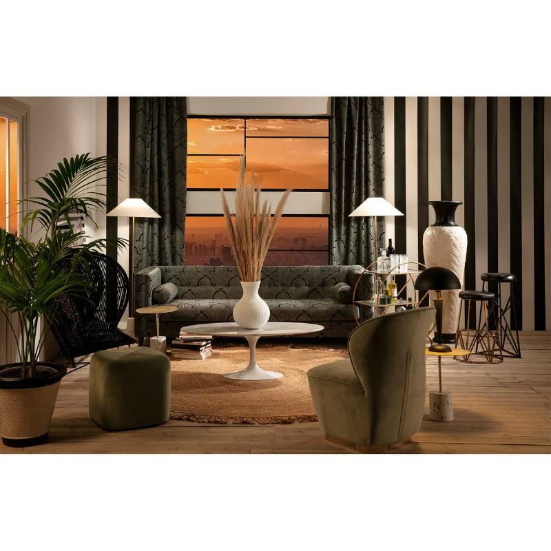 Canapé 4 places 240x95x70 tissu Vert Noir - image 52787