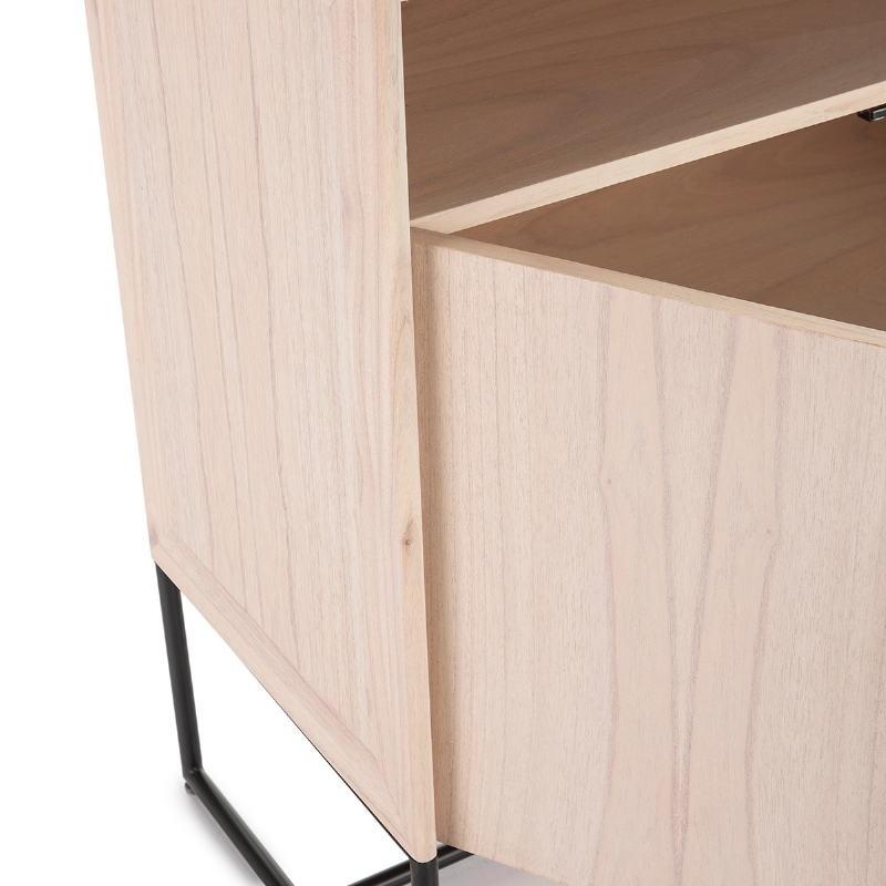 Anrichte 2 Türen 90X40X93 Holz Natürlich/Metall Schwarz - image 52806