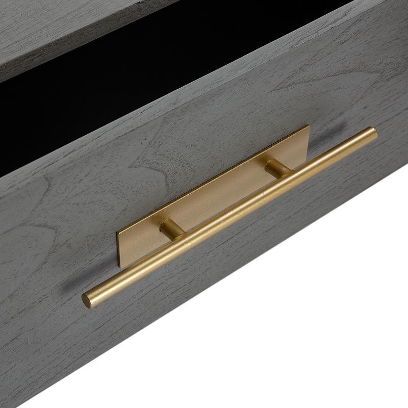 Buffet 2 portes 2 tiroirs 150x46x86 Bois Gris Métal Doré - image 52811