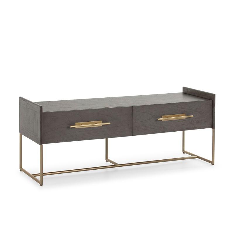 Mueble Tv 2 Cajones 140X45X55 Madera Gris Metal Dorado