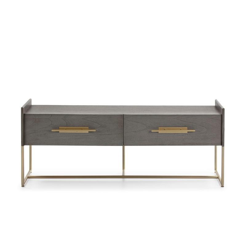 Mueble Tv 2 Cajones 140X45X55 Madera Gris Metal Dorado - image 52837