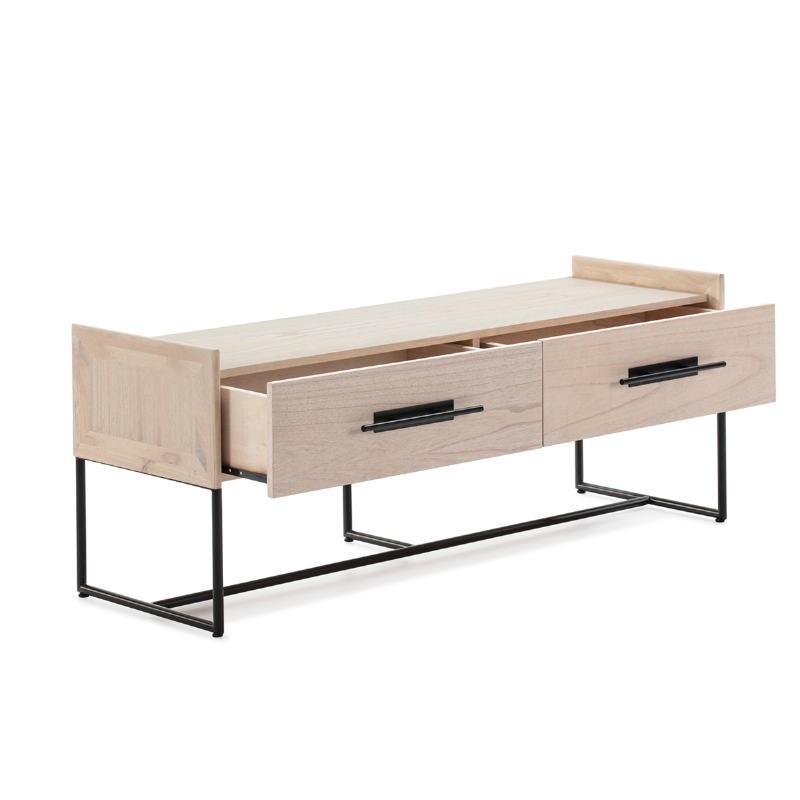 Mueble Tv 2 Cajones 140X45X55 Madera Natural Metal Negro - image 52843