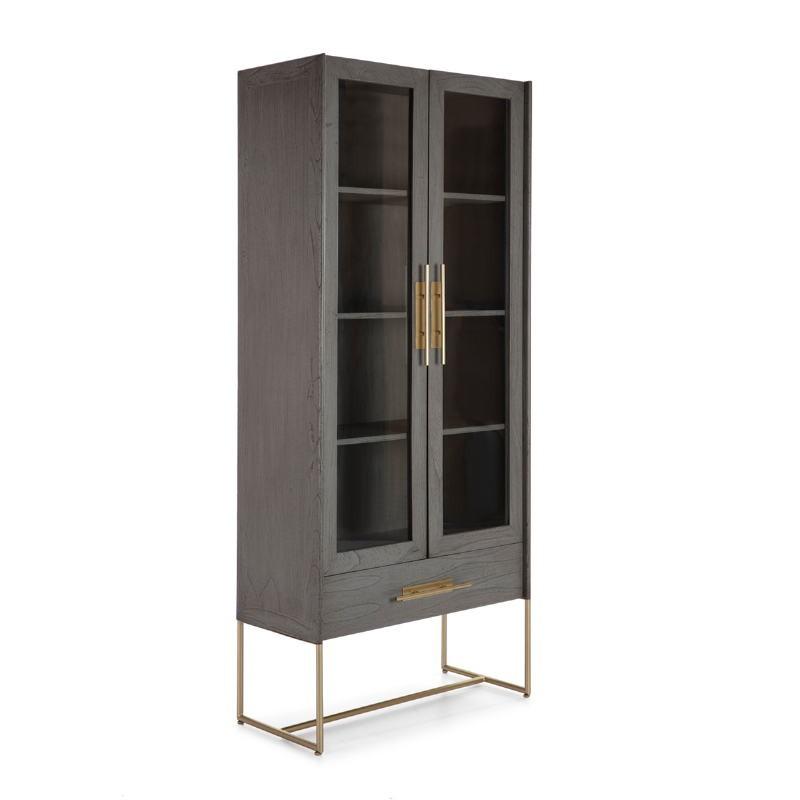 Showcase 85X40X195 Wood Grey Metal Golden - image 52844