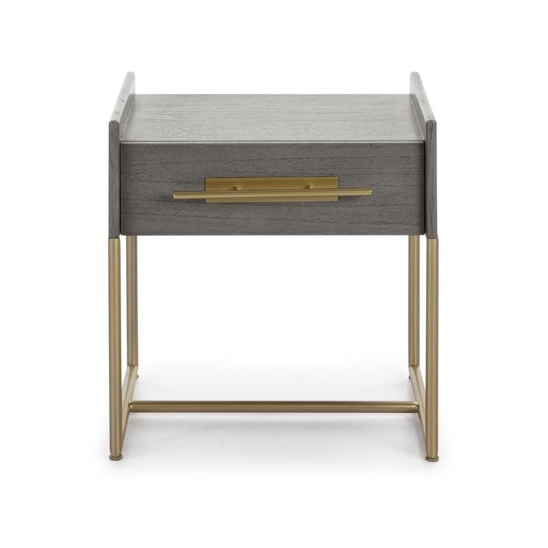 Table de chevet 1  tiroir 50x45x54 Bois Gris Métal Doré - image 52859