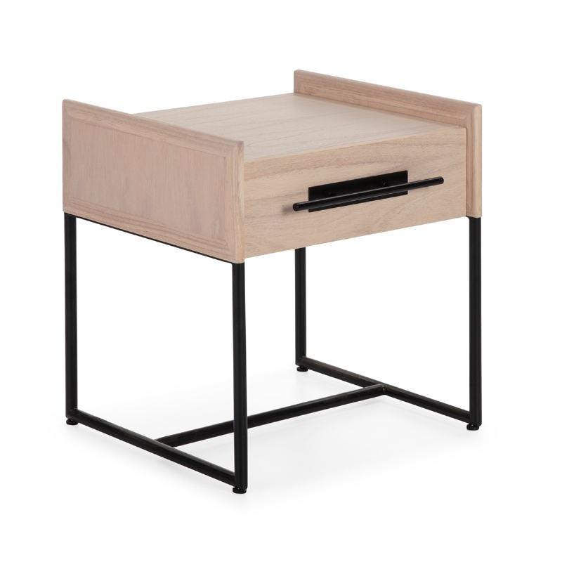 Nachttisch 1 Chublade 50X45X54 Holz Natürlich/Metall Schwarz