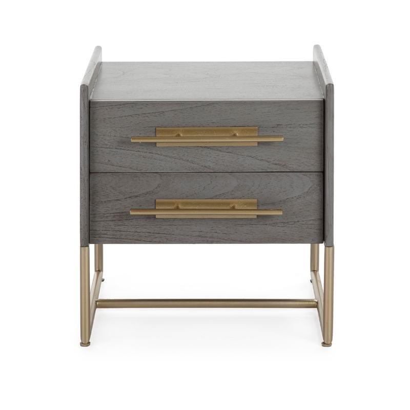 Table de chevet 2 tiroirs 50x45x54 Bois Gris Métal Doré Modèle 2 - image 52869