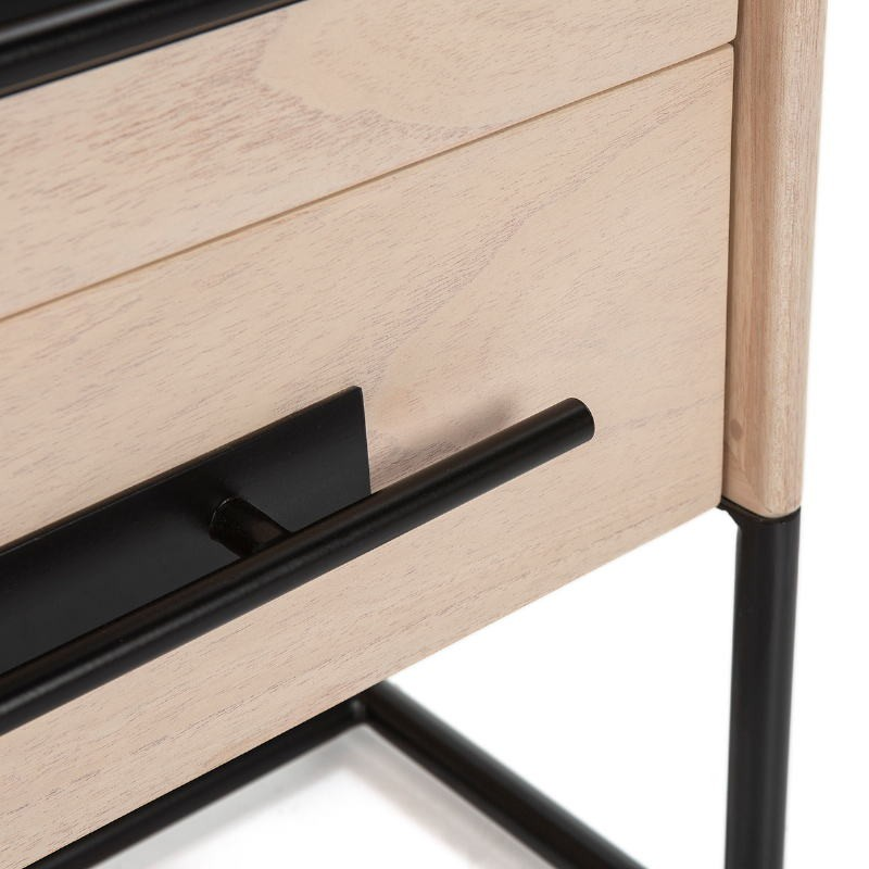 Bedside Table 2 Drawers 50X45X54 Wood Natural Metal Black Model 2 - image 52872