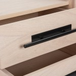 Bedside Table 2 Drawers 50X45X54 Wood Natural Metal Black Model 2