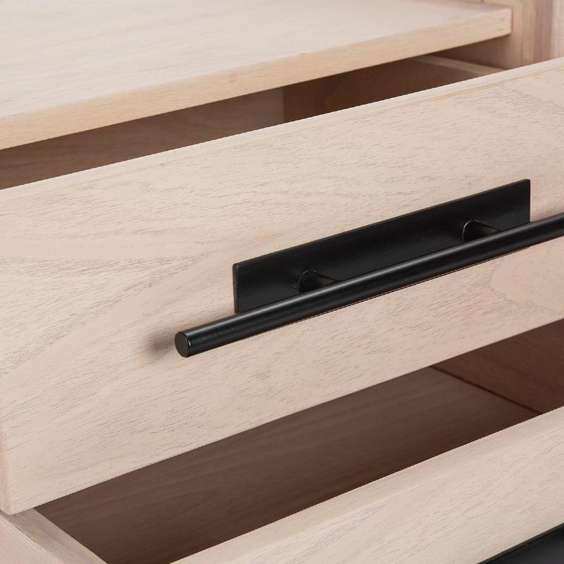 Bedside Table 2 Drawers 50X45X54 Wood Natural Metal Black Model 2 - image 52873
