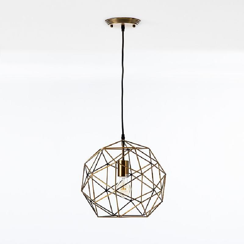 Lampe suspendue avec abat-jour 32x30 Métal Doré - image 52902