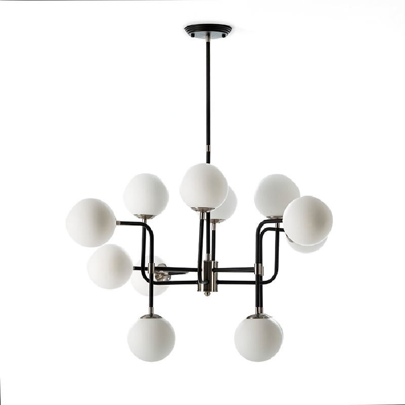 Lampada A Sospensione Con Paralume 70X90X100 Metallo Nero-Nickel Vetro Bianco