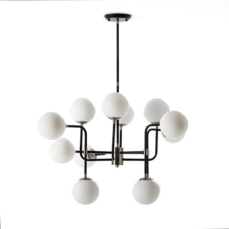 Lampe suspendue avec abat-jour 70x90x100 Métal Noir-Nickel Verre Blanc - image 52909