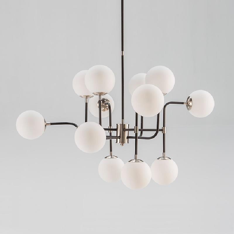 Lampe suspendue avec abat-jour 70x90x100 Métal Noir-Nickel Verre Blanc - image 52910