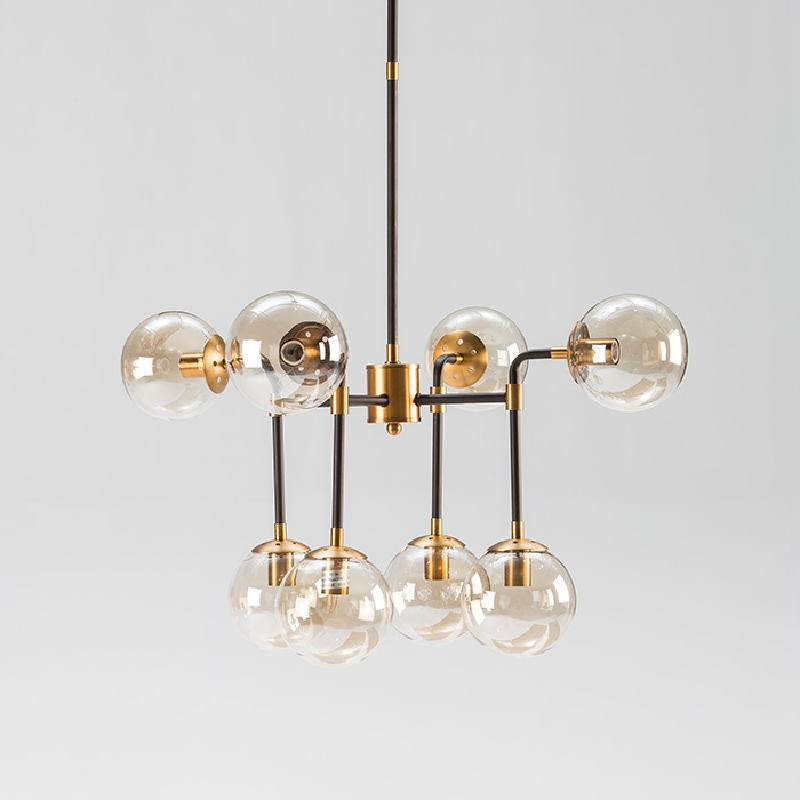Lampada A Sospensione Con Paralume 75X75X100 Metallo Nero-Dorato Vetro Ambra - image 52912