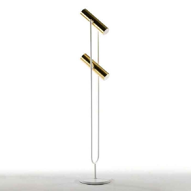 Lampada A Stelo Con Paralume 22X120 Metallo Oro Bianco