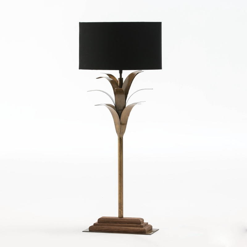 Table Lamp With Lampshade 30X28X74 Metal Wood Black - image 52935