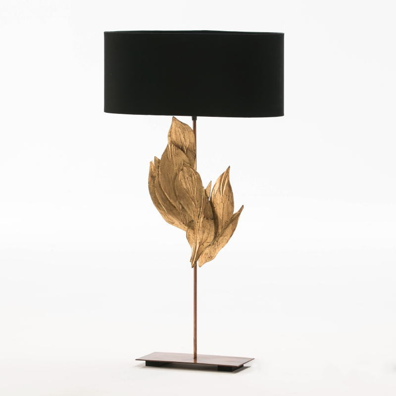 Table Lamp With Lampshade 30X15X76 Metal Wood Black - image 52937