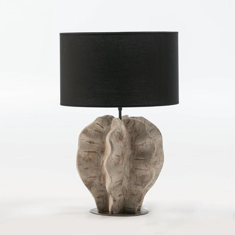 Lampe de Table sans abat-jour 30x28x42 Métal Bois Blanc blanchi - image 52939