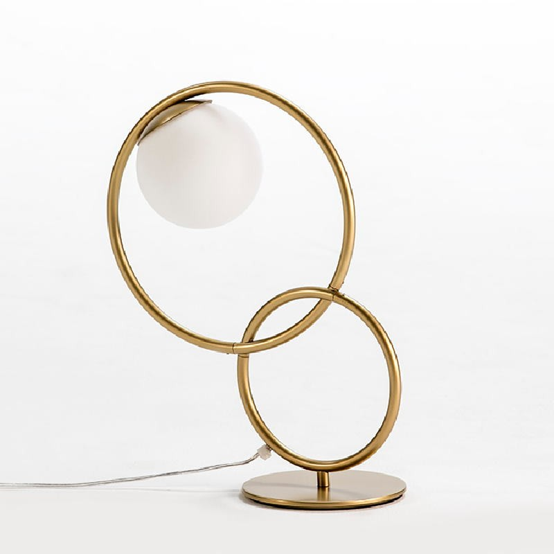 Table Lamp With Lampshade 42X18X48 Glass Metal Golden