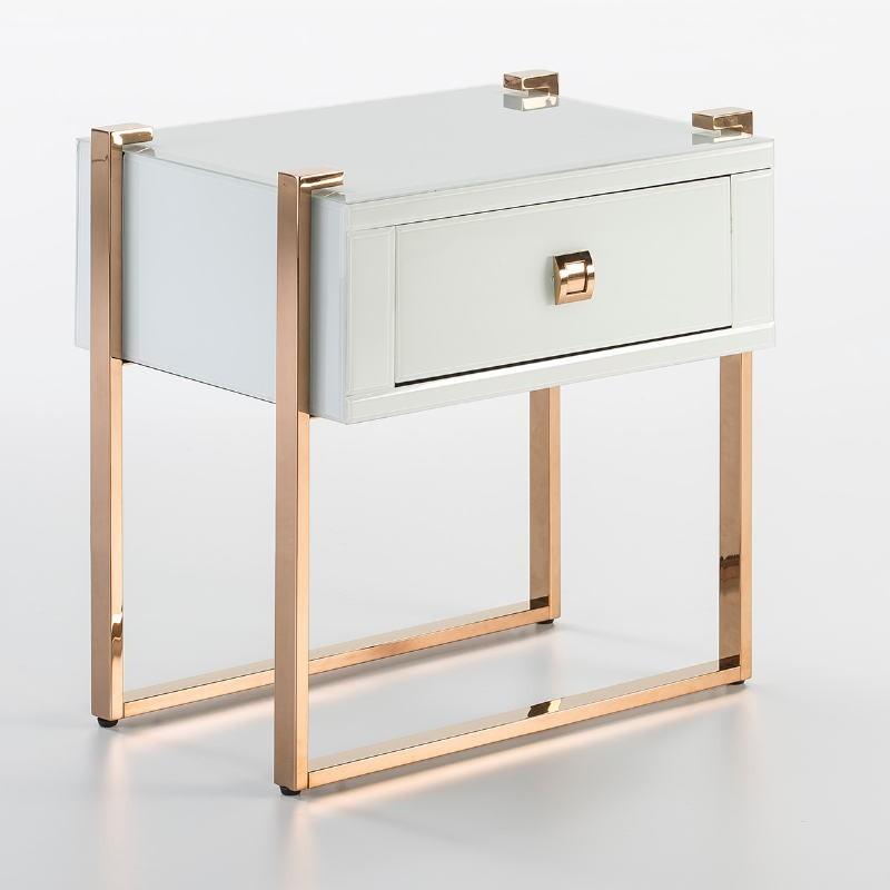 Table de chevet 54x40x56 Acier Or Rose Verre Blanc