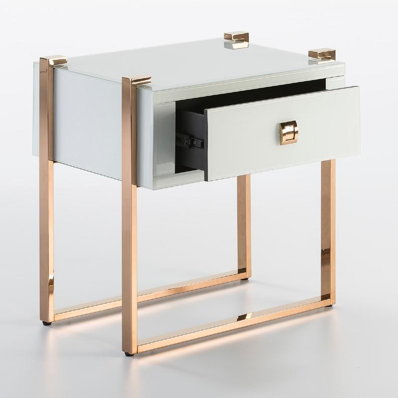 Table de chevet 54x40x56 Acier Or Rose Verre Blanc - image 52953