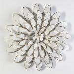 Escultura 80X12 Metal Blanco Dorado